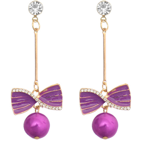 Purple cheap pearl earrings
