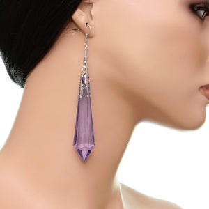 Purple Faux Crystal Pointy Earrings