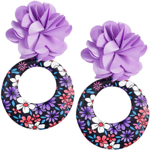Purple Floral Fabric Drop Hoop Earrings