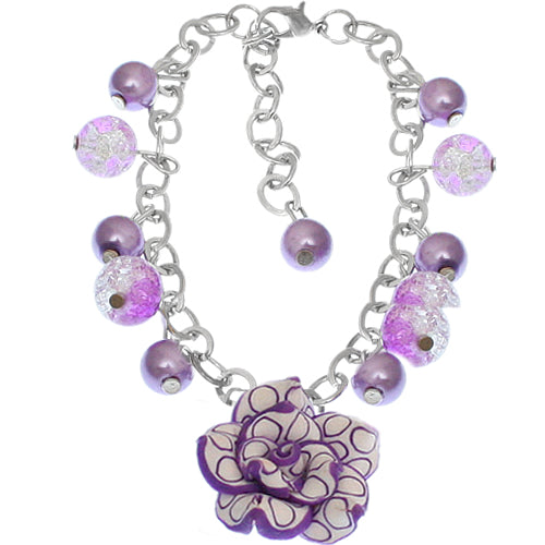 Purple Glass Ball Flower Charm Chain Bracelet