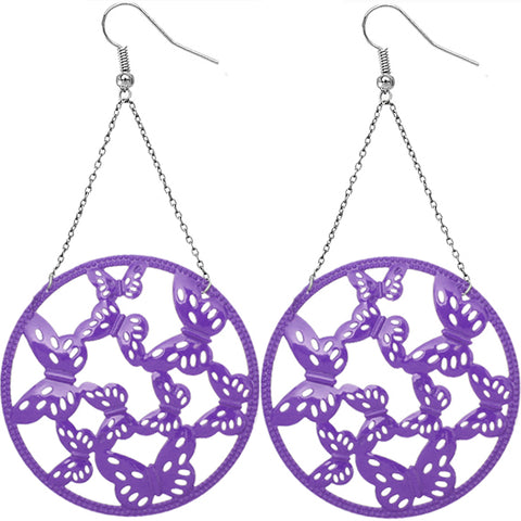 Purple Gigantic Butterfly Chain Earrings