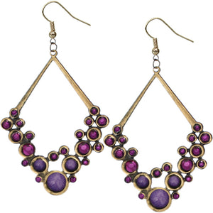 Purple Gold Beaded Open Triangle Rhinestone Earrings
