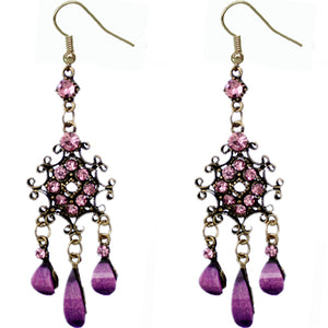 Purple Elegant Chandelier Gemstone Earrings