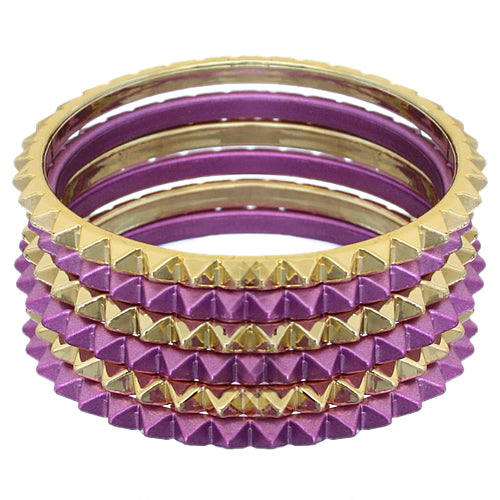 Purple Two-Tone Spike Stacked Bracelet