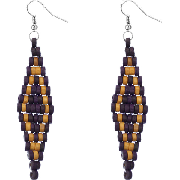 Purple wooden earrings