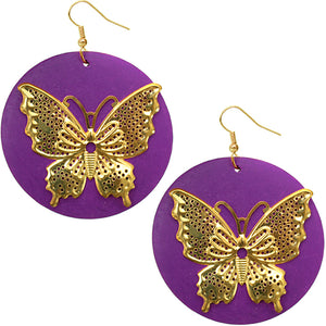 Purple Gold Wooden Butterfly Dangle Earrings