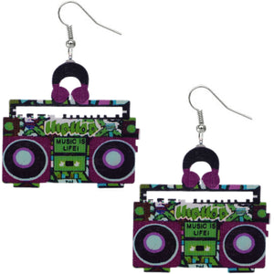 Purple Green Hiphop Radio Boombox Earrings