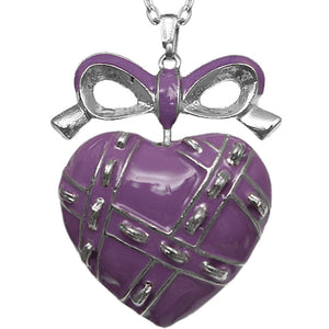Purple Heart Bow Charm Necklace