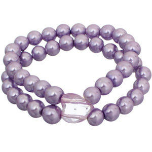Purple Heart Beaded Stretch Bracelet