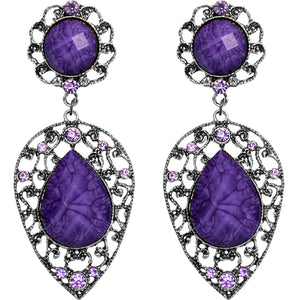 Purple Teardrop Gemstone Link Post Earrings