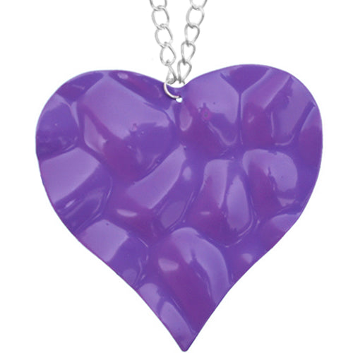 Purple Large Hammered Heart Chain Necklace