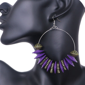 Purple Large Disk Hoop Earrings