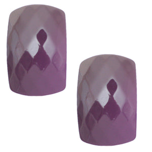 Purple Large Faceted Post Earrings