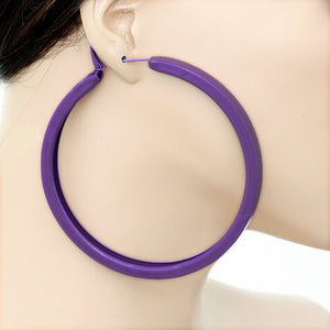 Purple Large Metal Hoop Earrings