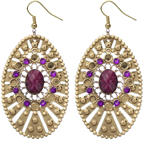 Purple Large Round Studded Dangle Earrings