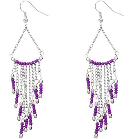 Purple Long Beaded Dangle Earrings