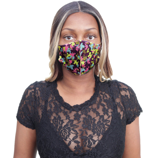 Purple Multicolor Camouflage Face Mask