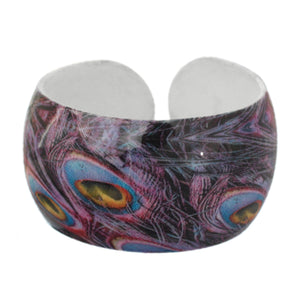 Purple Multicolor Feather Design Cuff Bracelet