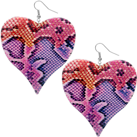 Pink Multicolor Snakeskin Earrings