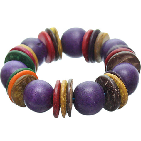 Purple Multicolor Wooden Bead Stretch Bracelet