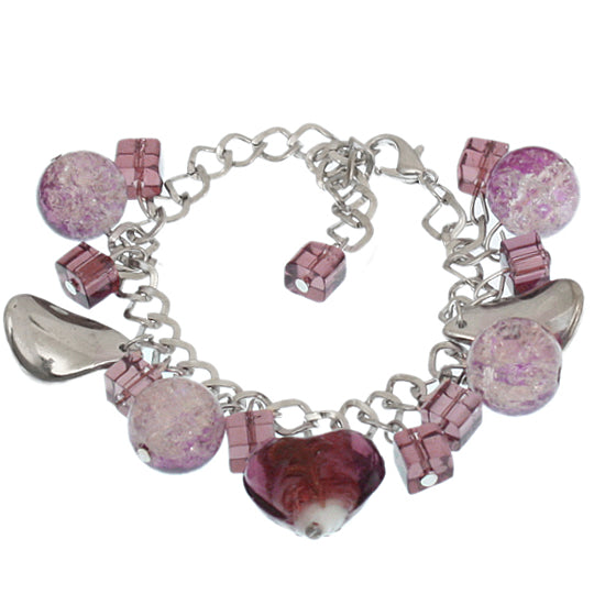 Purple Murano Glass Heart Chain Link Bracelet