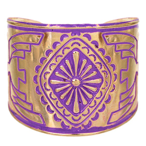 Purple Double-Sided Art Deco Metal Cuff Bracelet