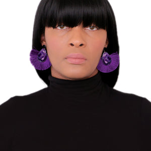 Purple Oval Fan Tassel Earrings