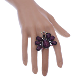 Purple Large Beaded Peacock Adjustable Ring