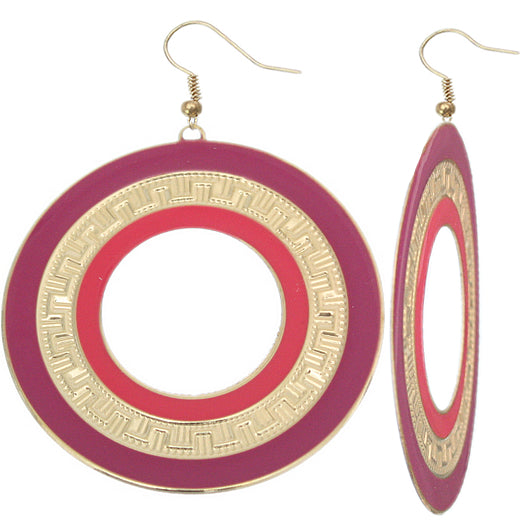 Purple Pink Thin Disc Dangle Earrings