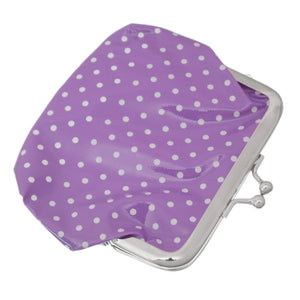 Purple Polka Dot Kisslock Coin Purse Wallet