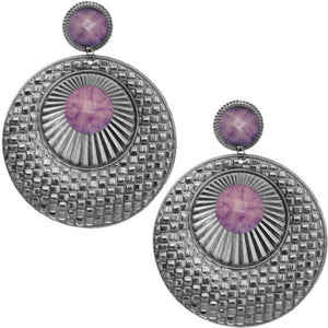 Purple Large Beaded Thin Disc Earrings