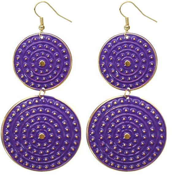 Purple Disk Earrings