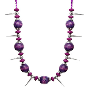 Purple Wooden Sequin Spike Necklace Set