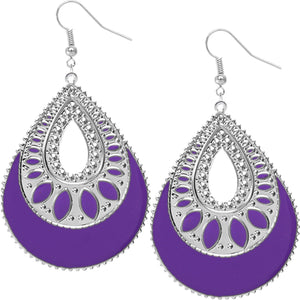 Purple Open Teardrop Earrings