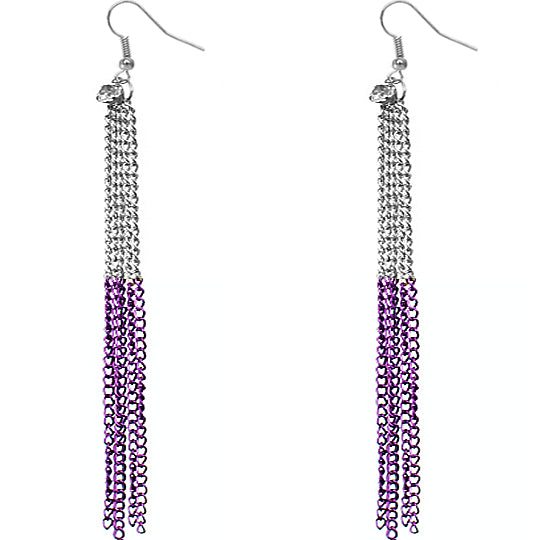 Purple Silver Long Drop Chain Dangle Earrings