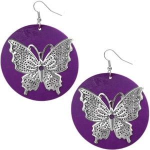 Purple Silver Wooden Butterfly Dangle Earrings