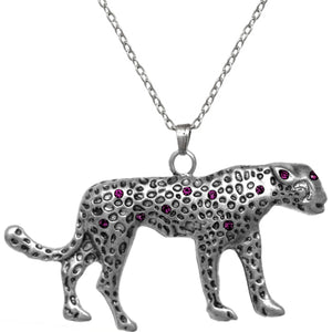Purple Spotted Cheetah Charm Necklace