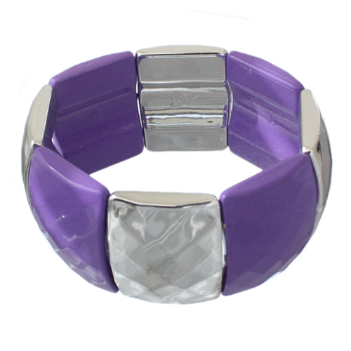 Purple Two Tone Square Stretch Bracelet