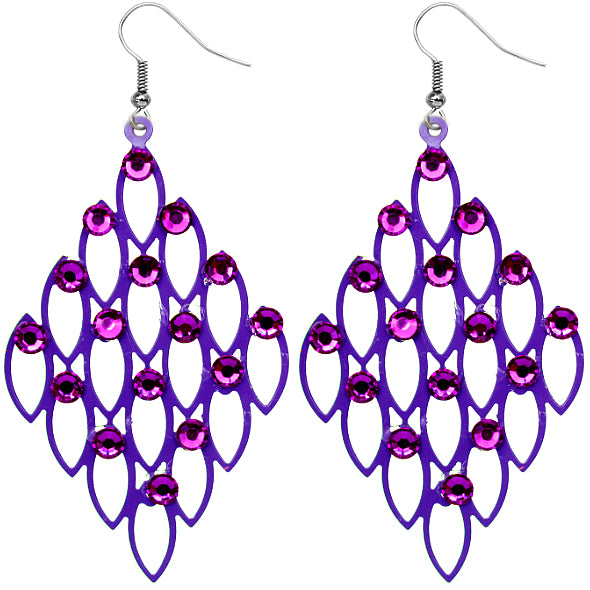 Purple Studded Rhinestone Cutout Mini Earrings
