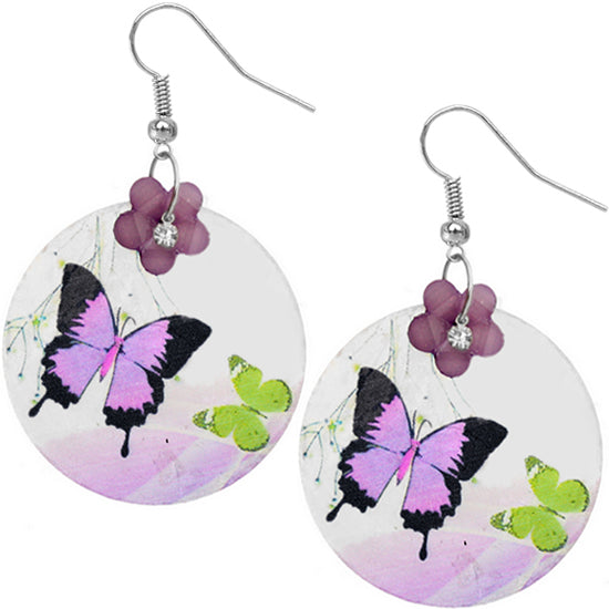 Purple Thin Shell Earrings