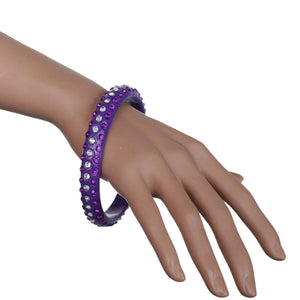 Purple Triple Row Rhinestone Bangle Bracelet