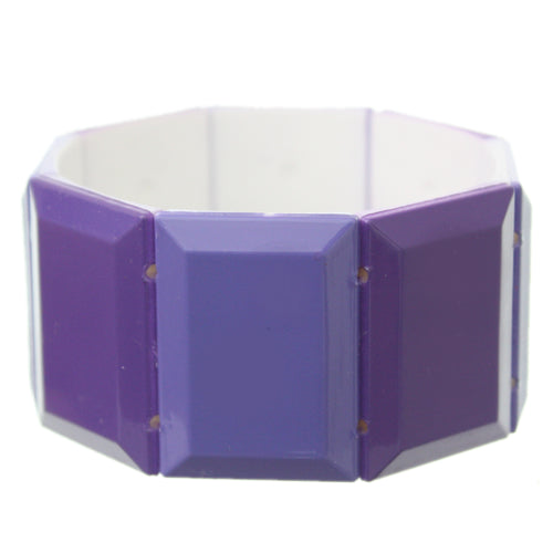 Purple Square Two Tone Stretch Bracelet