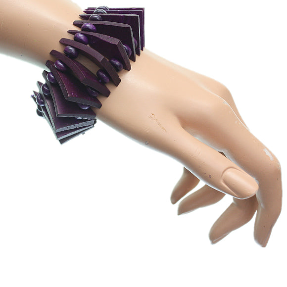 Purple Wooden Geometric Triangle Stretch Bracelet