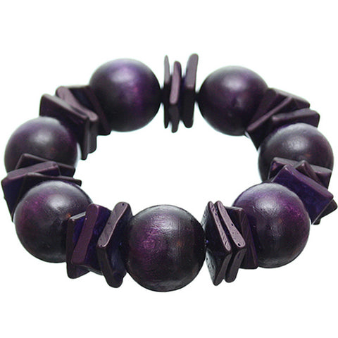 Purple Round Wooden Bead Stretch Bracelet