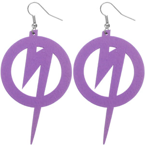 Purple Wooden Round Lightning Thunderbolt Earrings
