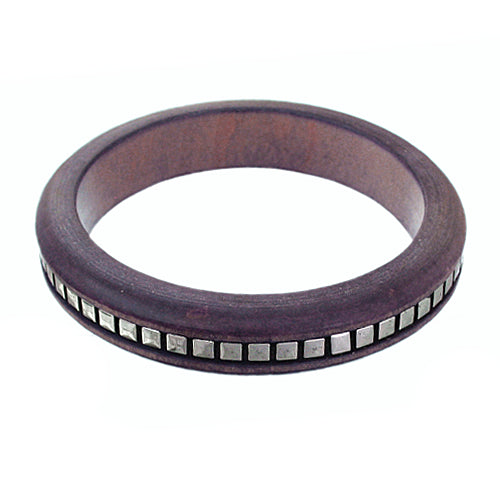 Purple Wooden Studded Pyramid Bangle Bracelet