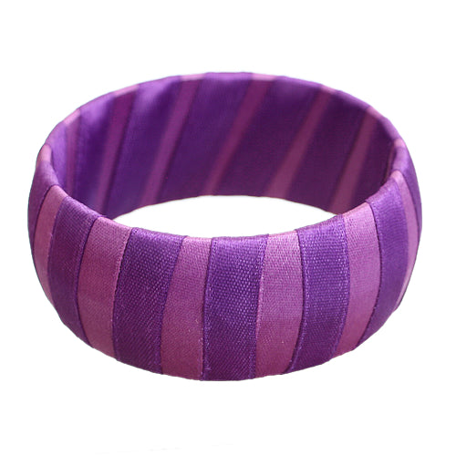 Purple Two Tone Wrapped Bangle Bracelet
