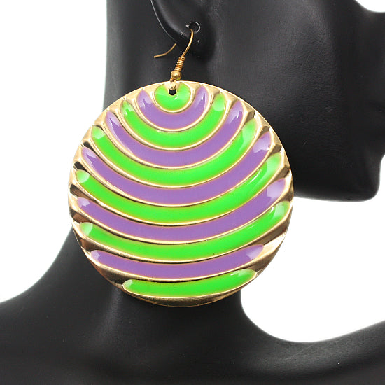 Green two tone earrings