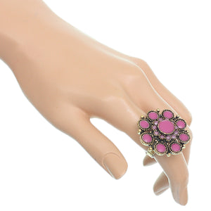 Purple Antique Circular Floral Topper Adjustable Ring