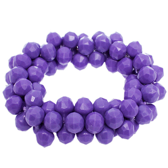 Purple Beaded Stretch Barbell Bracelet